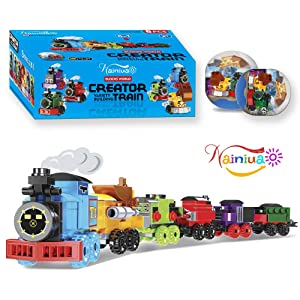 Nainiuao 189 Pcs Building Blocks Train Set ,6 Pcs Train Cabins Building Sets for Easter Eggs Fillers, Cabins,Kids Prizes Toys, Easter Egg ,Party Favors, Easter Gift, Easter Basket Fillers