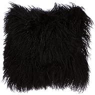 SLPR Mongolian Lamb Fur Throw Pillow Cover (16'' x 16'', Black) | Real Fur Decorative Cushion Cover Pillow Case for Living Room Bedroom