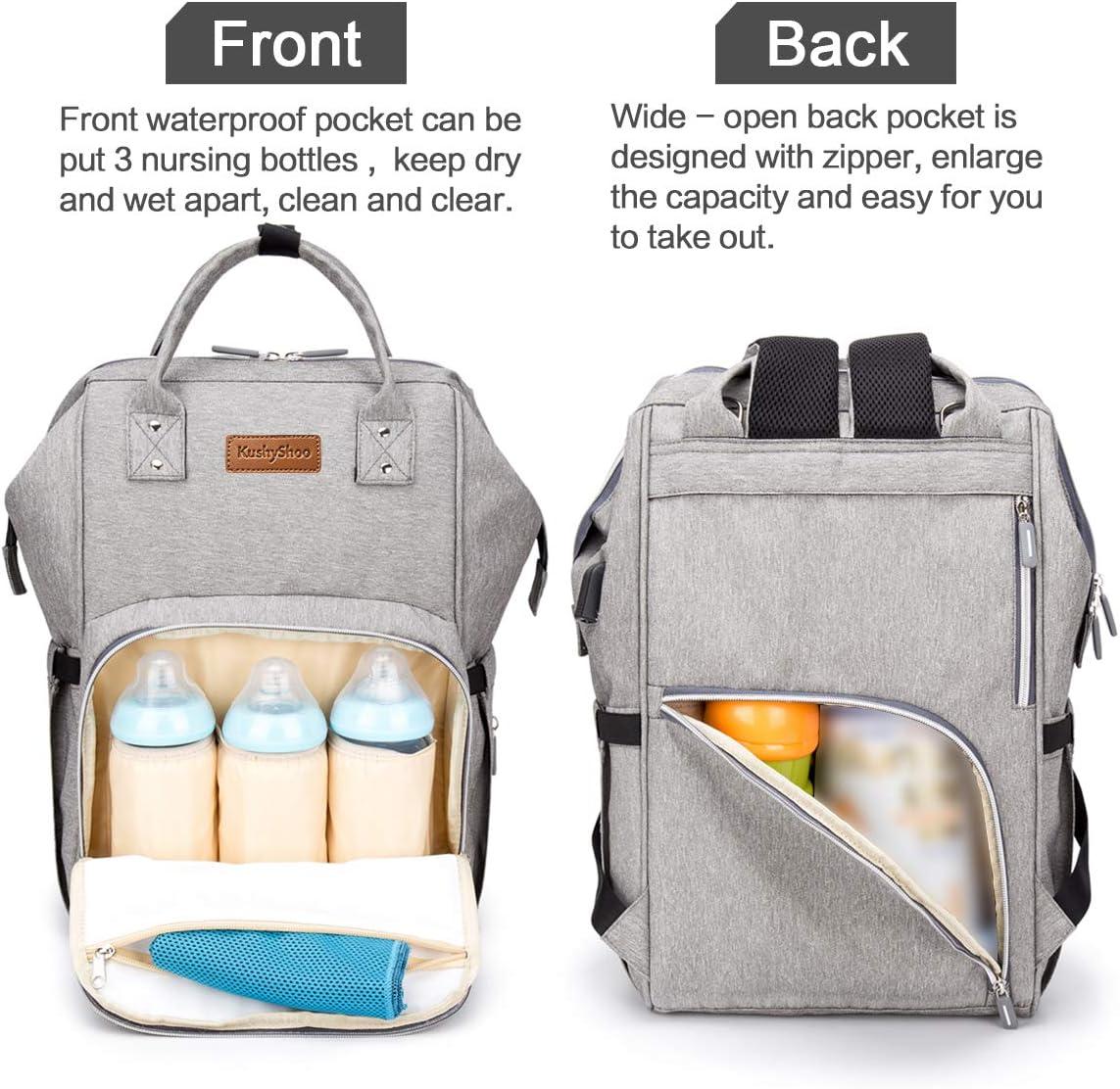 Kushyshoo /à langer Sacs /à couches Sac /à dos multifonction avec bandouli/ère pour poussette d/étachable et USB Ports de chargement et porte-bouteilles