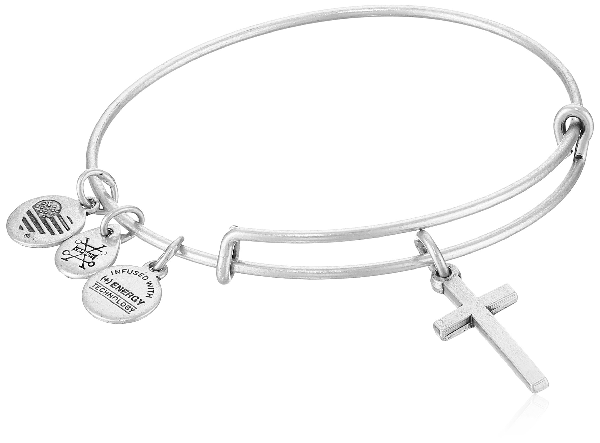 Alex and Ani Womens Cross II EWB Bangle Bracelet, Rafaelian Silver, Expandable
