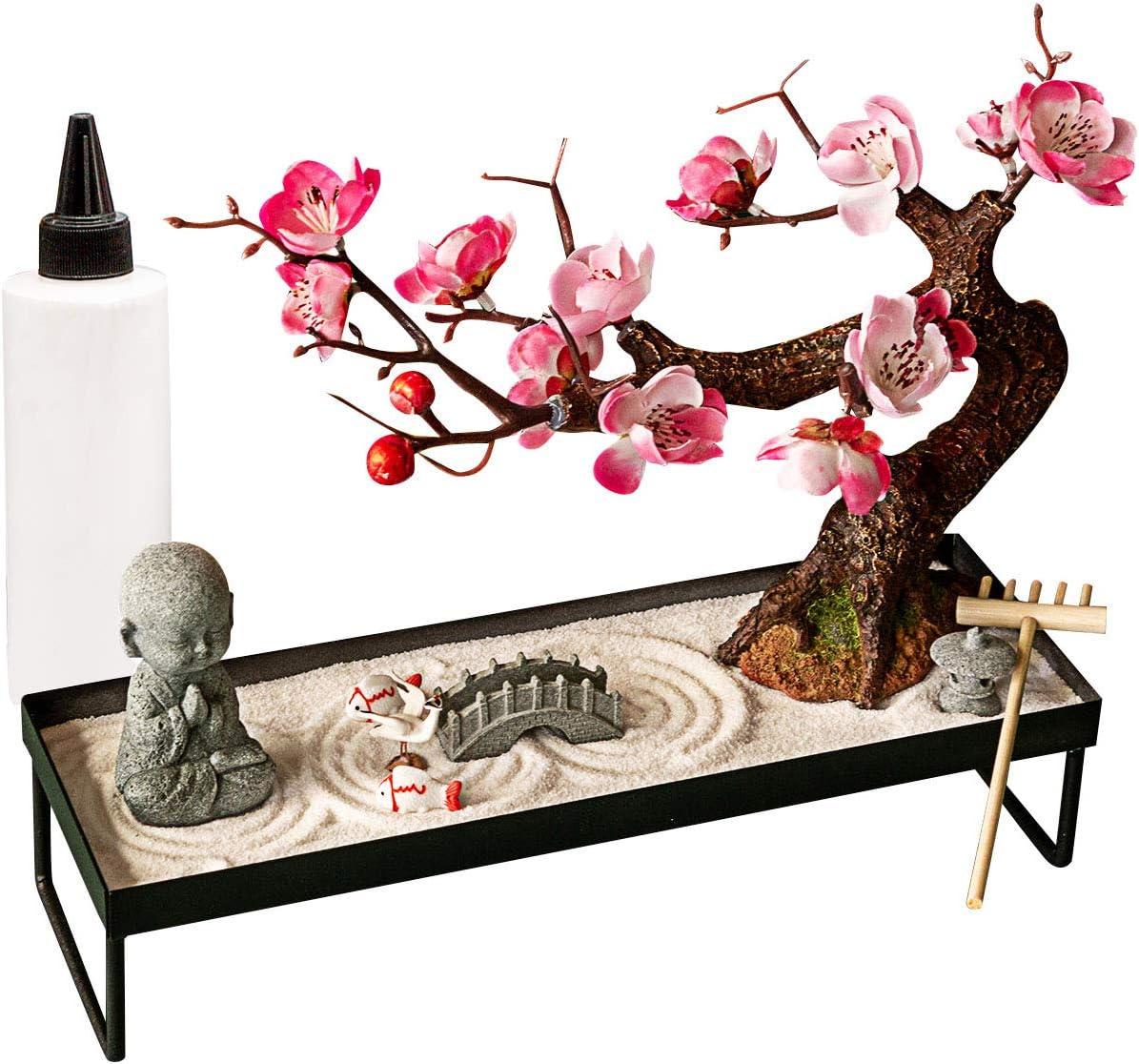 Japanese Zen Garden Meditation Gifts – Home Office Zen Decor Zen Gifts for Women Lady Friends – Rock Sand Bonsai Zen Garden for Desk Decoration – DIY Stress Relief Gifts for Mon Mather