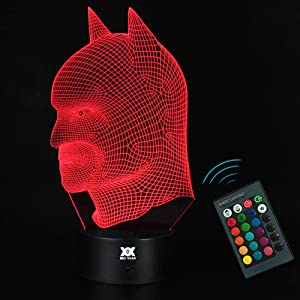 3D illusion Batman Remote contral Table Desk Night Light Lamp Home Office Childrenroom Decoration and Holiday Birthday Gift