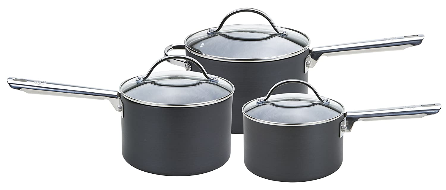 Anolon Professional Hard Anodised Saucepan Set, Black, Set of 3 Meyer Group Ltd. 85067