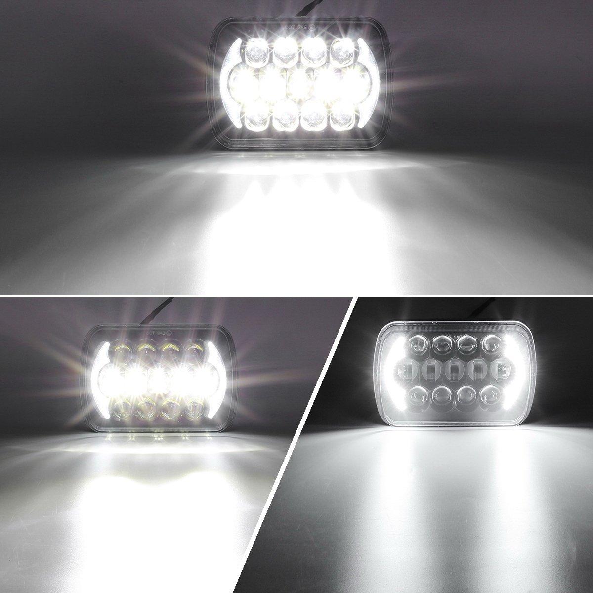 Partsam 5x7 LED Headlights 7x6 Sealed Beam Osram Chip Angel Eyes DRL Hi//Lo Replacement for C4 Corvette H6054 6054 Jeep Wrangler YJ Cherokee XJ Toyota 4Runner Tacoma Chevy Blazer Express Van 2PCS