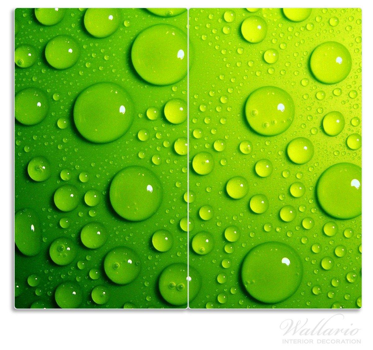 Wassertropfen Grün grün Wallario Herdabdeckplatte 1-teilig aus Glas 80x52cm