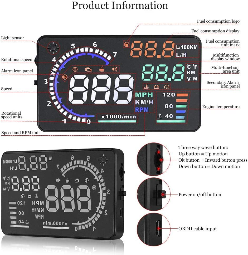 Trainshow A8 Head Up Display,5.5 OBD II Car Windshield HUD with Speed Fatigue Warning RPM MPH Fuel Consumption Multiple-Color Bright Speeding Warning Trainshow Online