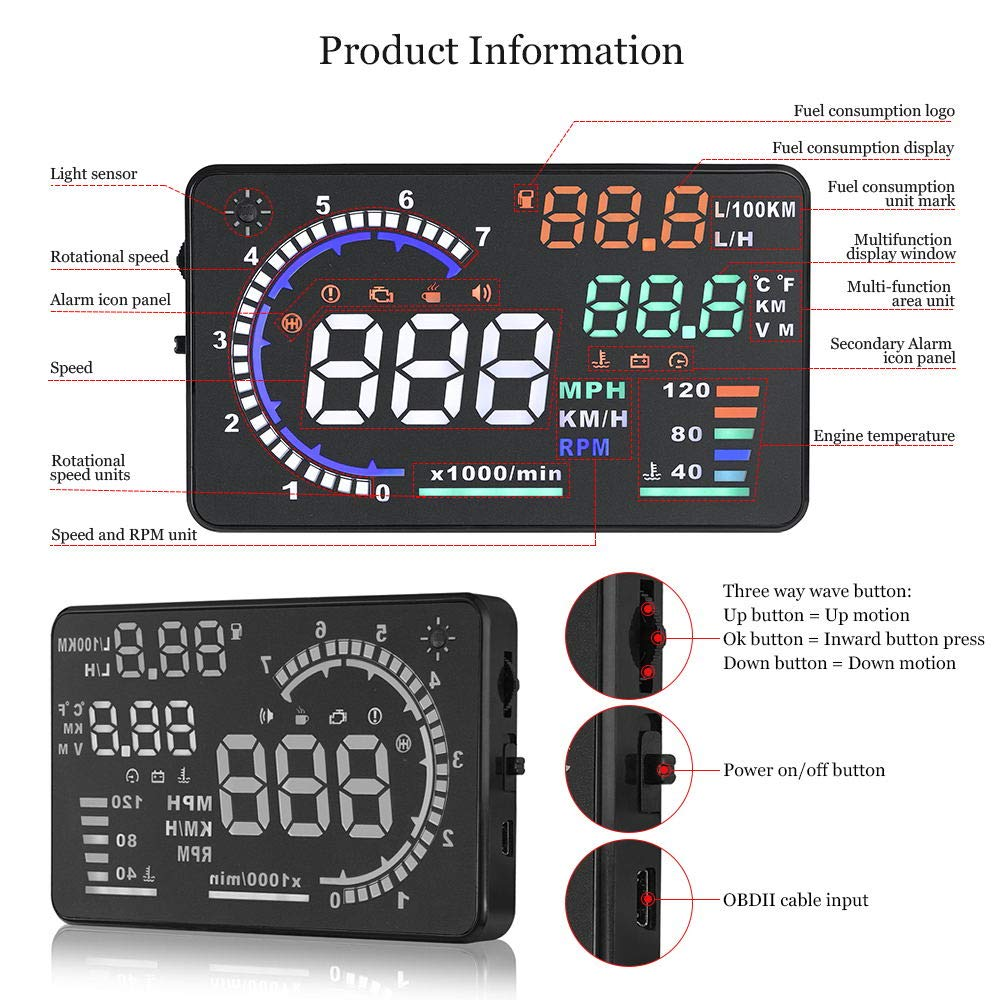 Trainshow A8 Head Up Display,5.5'' OBD II Car Windshield HUD with Speed Fatigue Warning RPM MPH Fuel Consumption Multiple-Color Bright Speeding Warning by Trainshow Online (Image #6)