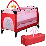 Costway Portable Infant Baby Travel Cot Bed Play Pen Child Bassinet Playpen Entryway W Mat 2 in 1 (Pink)