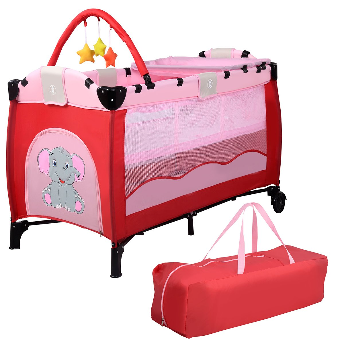 Giantex Pink Baby Crib Playpen Playard Pack Travel Infant Bassinet Bed Foldable