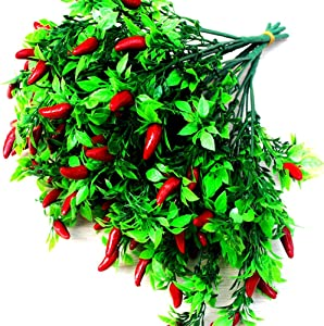 Lopkey Artificial Pepper Fruit Chili Bunch Fake Plant Party Office Decor(2pcs)