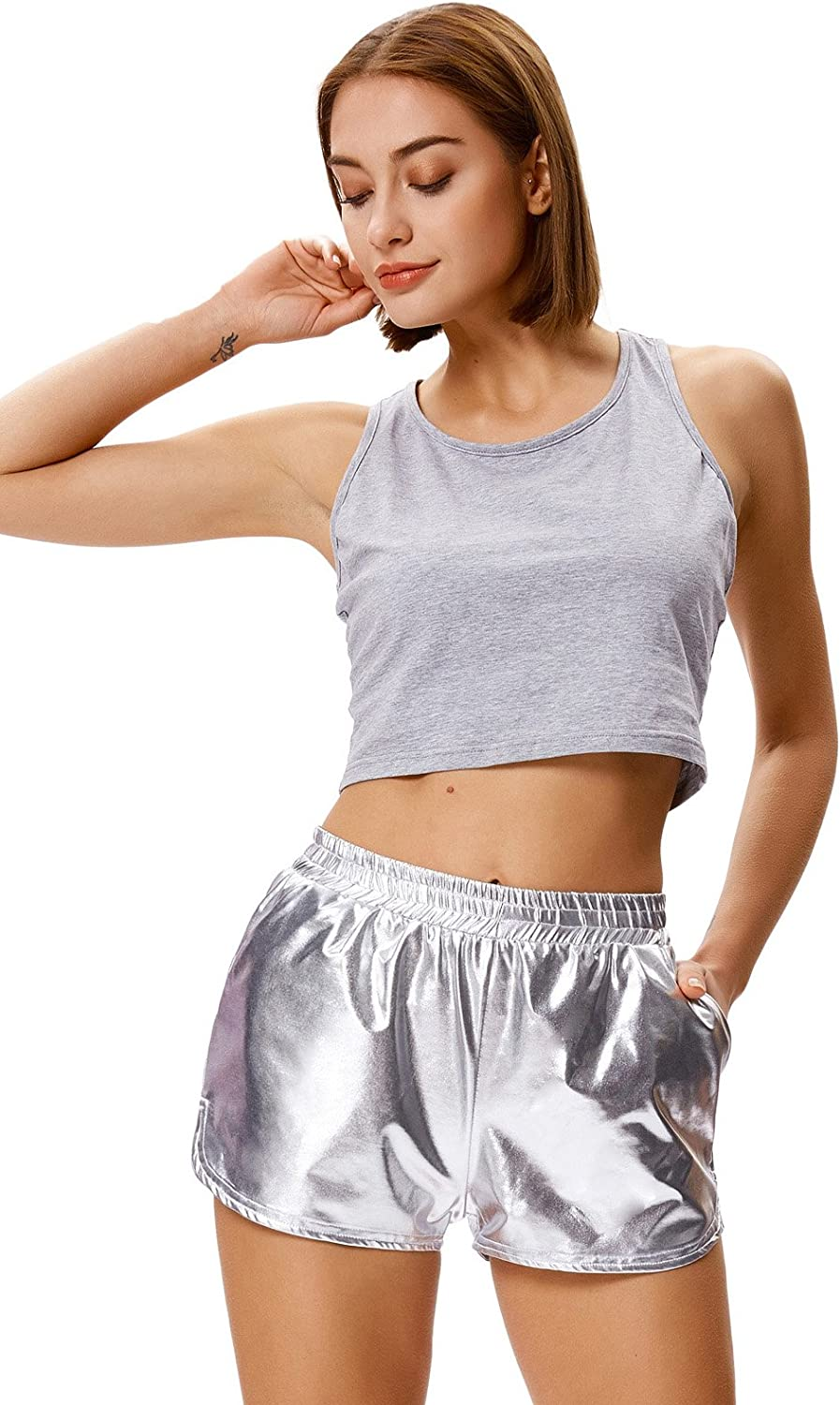 Kate Kasin Womens Fitted Wet Look Sports Gym Metallic Shorts Casual Short Pants KK862