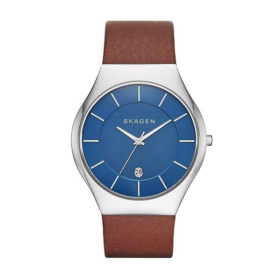 Skagen Reloj Hombre de Analogico con Correa en Cuero SKW6160: Amazon.es: Relojes