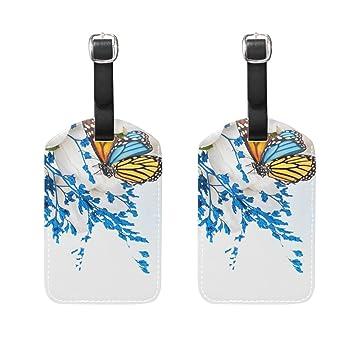 COOSUN Mariposas y Flores Etiquetas de Equipaje de Viaje Etiquetas Nombre del Titular de la Tarjeta de Etiqueta para el Equipaje Bolsa Maleta Mochilas, ...