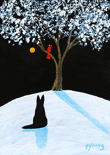 Amazon Com Black German Shepherd Dog Folk Art Print By Todd Young