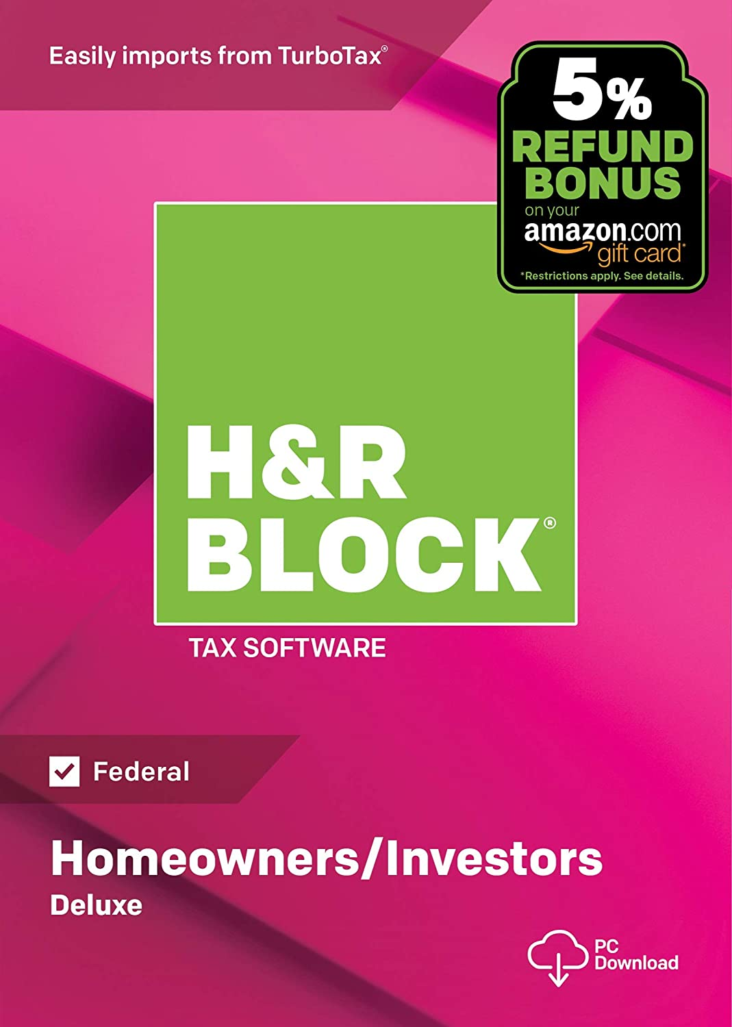 H&R Block Tax Software Deluxe + State 2018 with 5% Refund Bonus Offer Block Financial 1336608-18