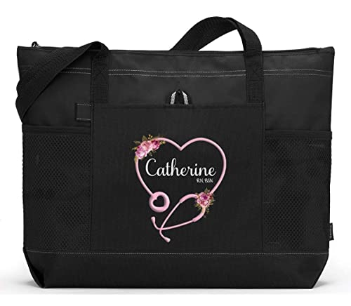 Give a nurse a tote with their name and title nurse book bag nurse reusable tote use for nurse essentials nurse market bag