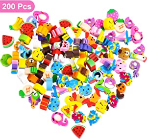 200 Pieces Mini Erasers Assortment, Colorful Cake, Digital and Animal Assorted Eraser Mini Novelty Erasers for Party Favors, Homework Rewards, Gift Filling (Style 2, 200 Pieces)