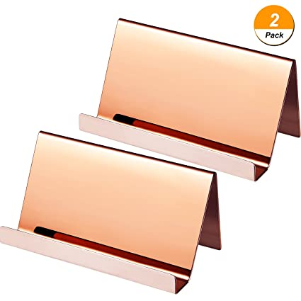Amazon maxdot 2 pack stainless steel business cards holders maxdot 2 pack stainless steel business cards holders desktop card display business card rack organizer colourmoves