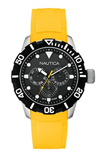 Nautica A13644G - Reloj de pulsera unisex, caucho, color amarillo: Amazon.es: Relojes