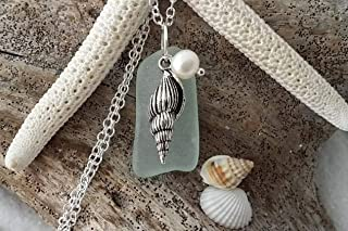 product image for Handmade in Hawaii, seafoam sea glass necklace, sea shell charm, Freshwater pearl, (Hawaii Gift Wrapped, Customizable Gift Message)