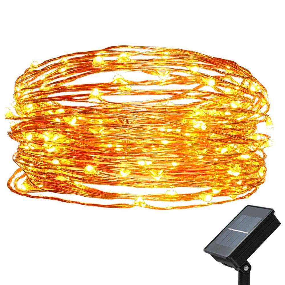 easyDecor Cadena solar de luces LED m Luces de alambre de cobre