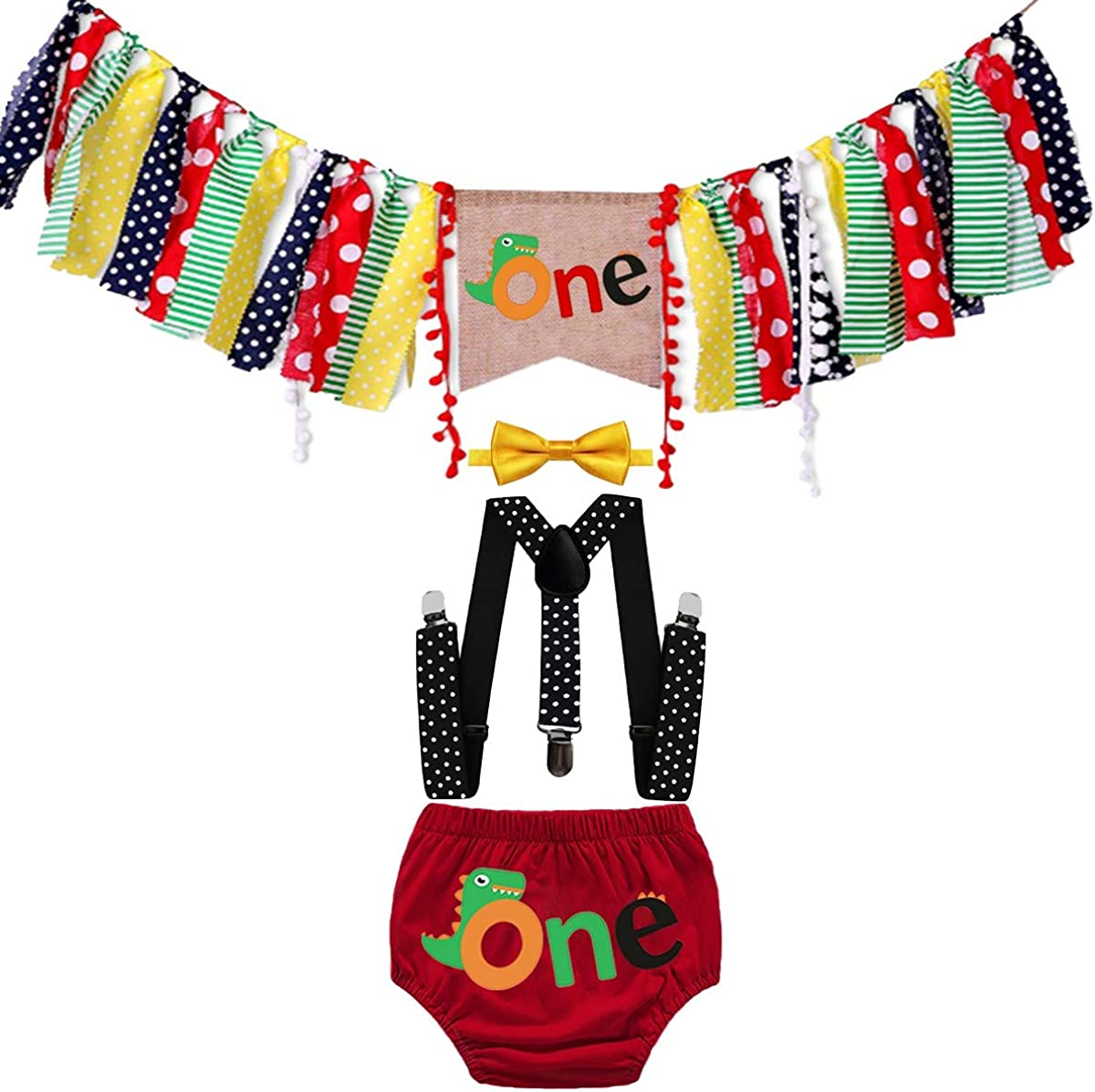HIHCBF Baby Dinosaur Cake Smash Outfit 1st Birthday Photo Shoot Decorations Kit Highchair Banner Bloomers Suspenders Bowtie