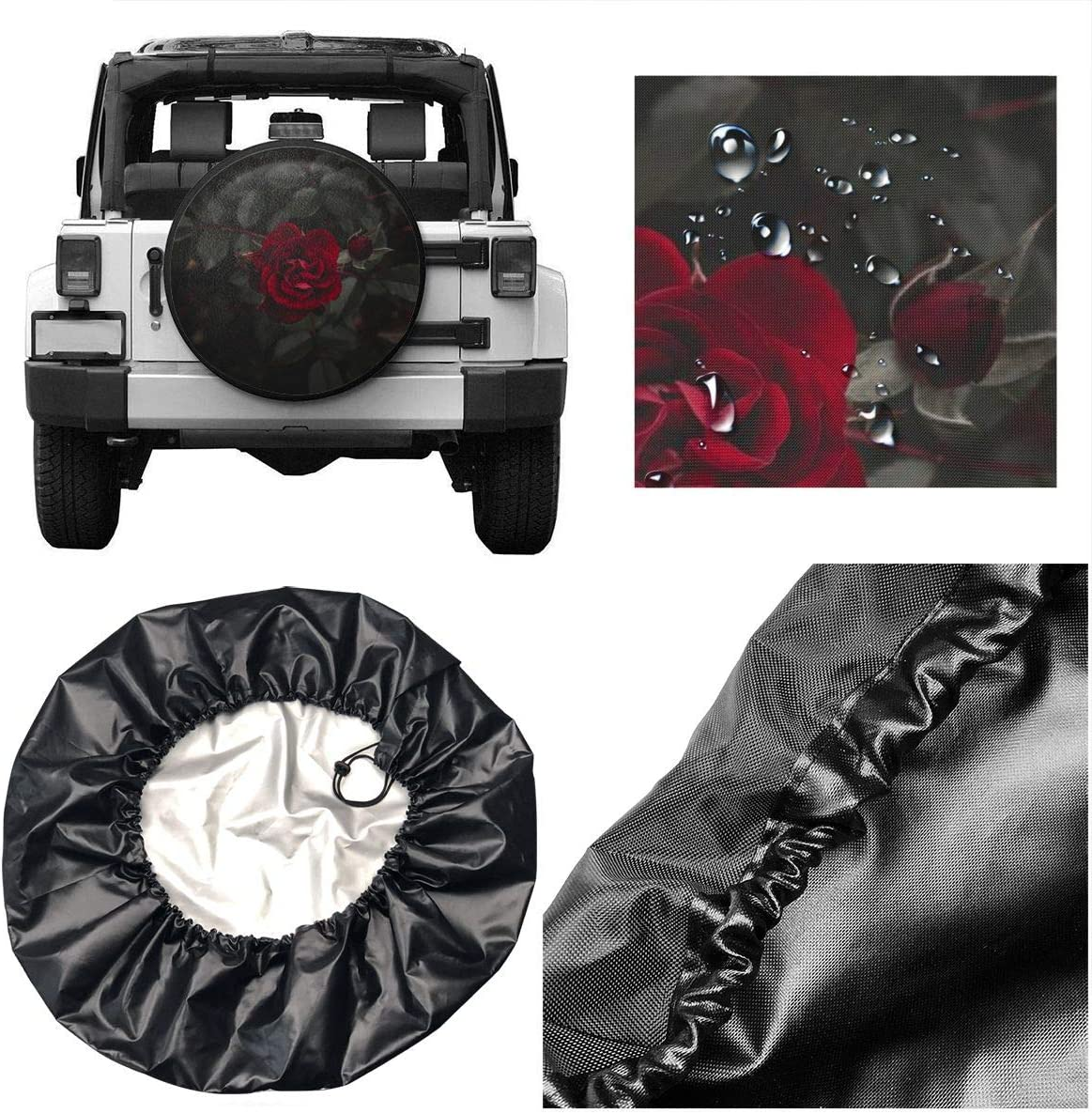 CHILL/·TEK Spare Tire Cover Rose Red Flowers Wheel Cover Polyester Waterproof Rv Wheel Covers for Jeep Liberty Wrangler SUV Camper Travel Trailer Accessories
