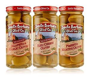 Santa Barbara Olive Co   Premium Individually Hand Stuffed Olives   VARIETY PACK COMBO   3 Pack (5 oz jars) (Jalapeno & Garlic, Pimento Martini, and Bleu Cheese)