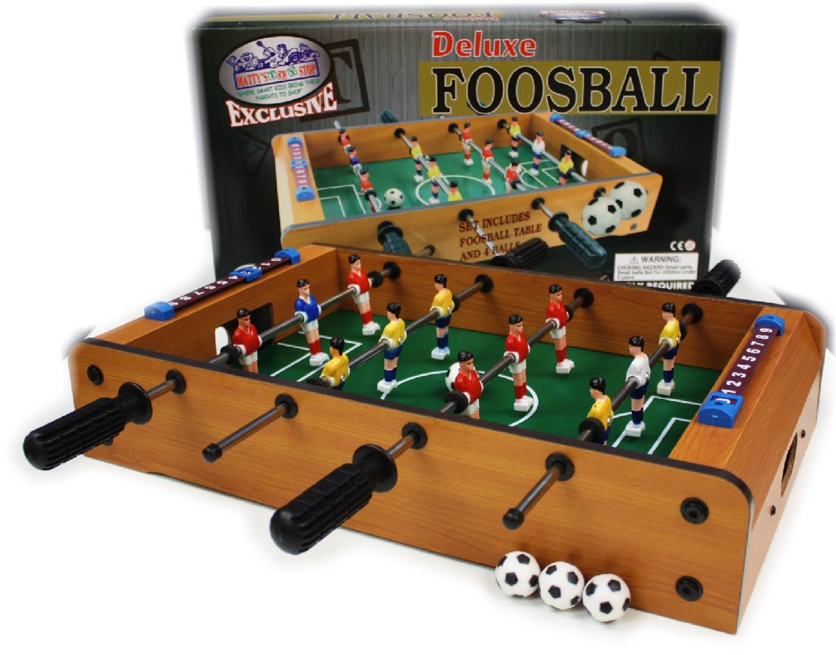 Matty's Toy Stop Deluxe Wooden Mini Table Top Foosball Game with 4 Soccer Balls Homeware