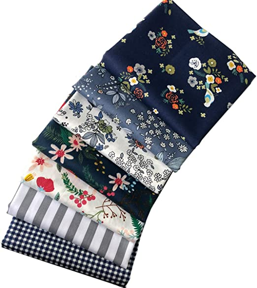 Misscrafts 7PCS Fabric Patchwork Blue Series Fabric Craft Bundle Squares Floral Pattern 46cmx56cm Quilting Fat Quarters for DIY Sewing Scrapbooking Crafts Handmade