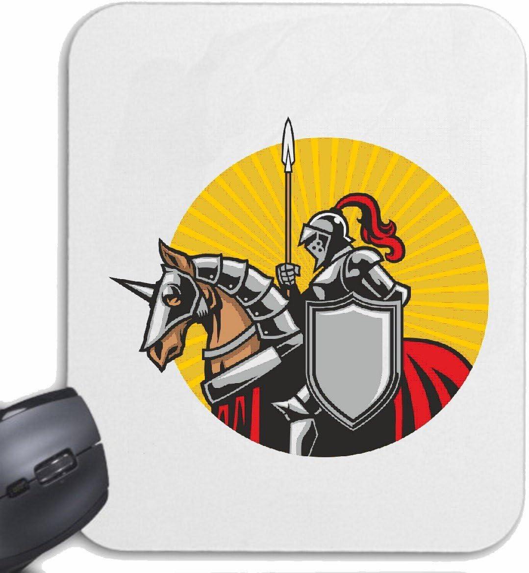 Mousepad alfombrilla de ratón Logotipo del caballero CON EL CABALLO KNIGHTSWORD KNIGHT KNIGHT ARMOUR Ritterburg CASCO PROTECTOR para su portátil, ordenador portátil o PC de Internet (con Windows Linu