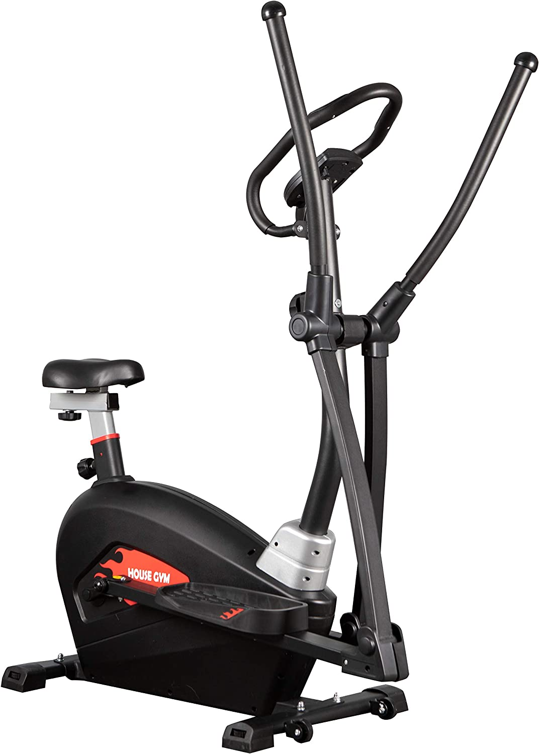 LCD Display KASMET Cross Trainer Cardio Workout Indoor Fitness Magnetic Resistance 16 Levels Elliptical Machine Exercise Equipment For Home Use With Bike Seat Pulse Heart Rate Monitor