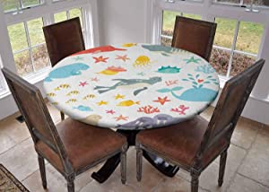 """Round Tablecloth Kitchen Decoration,Table Cover with Elastic Edges,Diameter 60"""",Whale Squid Sea Lion Shark Jellyfish Clownfish Dolphin Starfish Stingrays Colorful Multicolor,Birthday Tablecloth"""