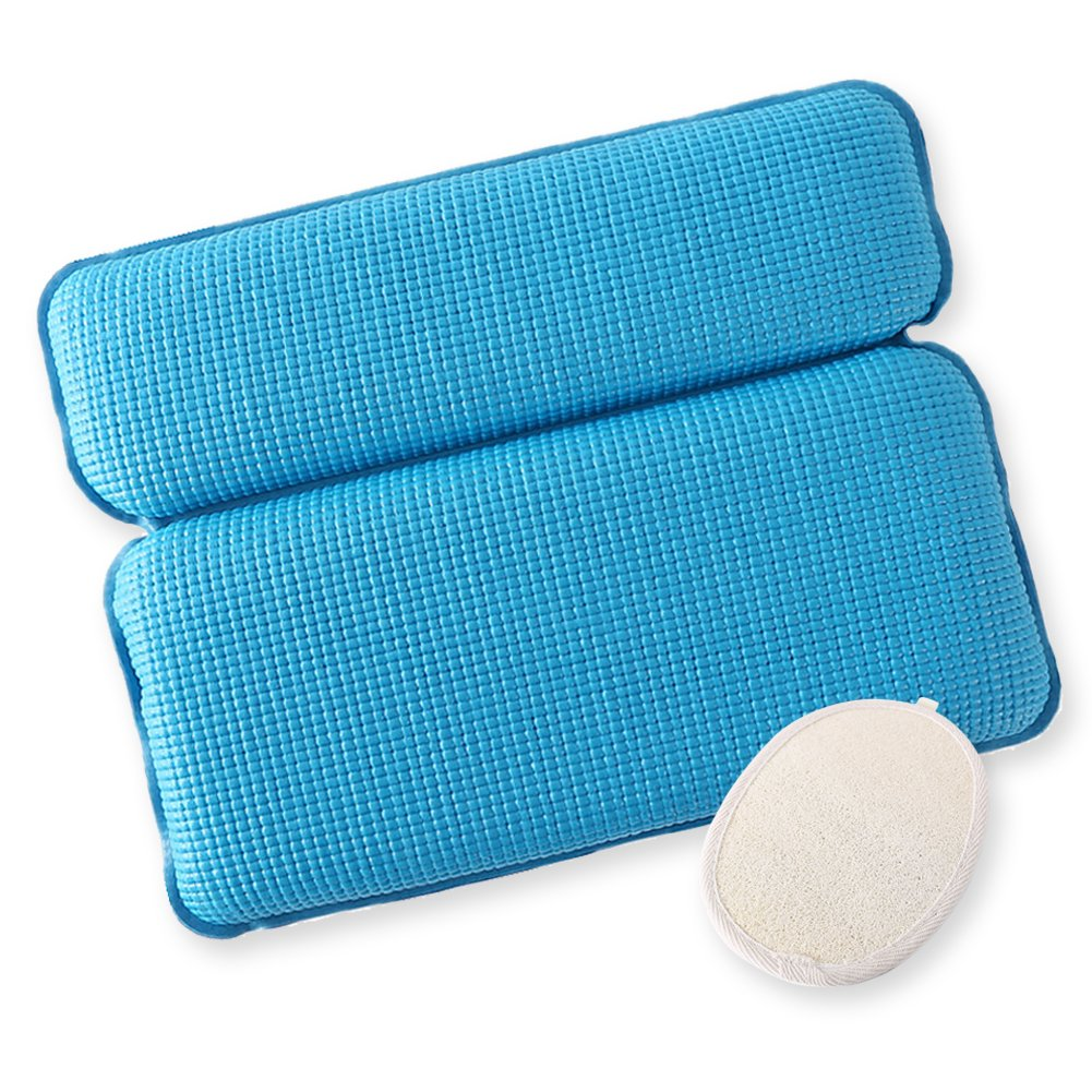 F.G.Y Luxury Spa Bath Pillow Mat 2-Panel Nonslip Jacuzzi Pillow with Powerful Gripping Suction Cups. Soft Large Comfort for Head, Neck, Back Support. Fits any Size Tub (Sky blue)