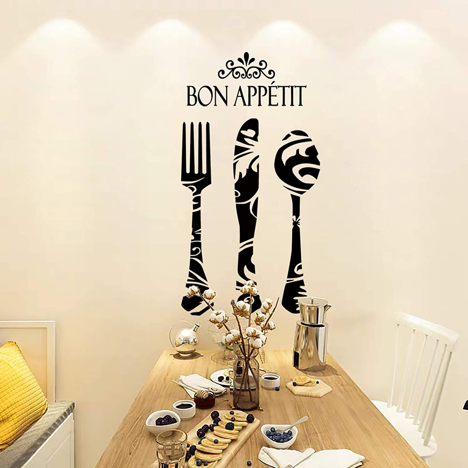 BIUBIUGO Kitchen Wall Decals Spoon,Fork,Knife Bon Appetit Wall Decals,Kitchen Wall Stickers Dining Room Wall Decor,Decals for Home Restaurant Decor(Black)