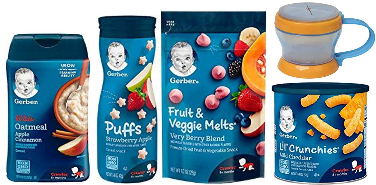 Gerber Baby Food Variety Pack of 5 - Puffs, Melts, Lil Bits Cereal, Lil Crunchies and Snack Catcher by Narrow Path Sales