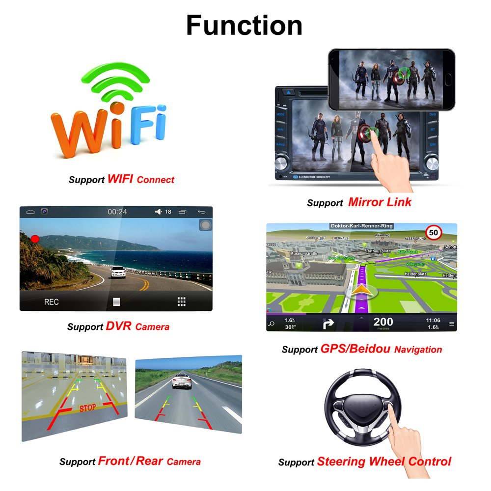 Naladoo 62 Inch Double Din Gps Navigation 1080p Wifi 2 Dvd Nav Wiring Diagram Bluetooth Am Fm Stereo Hd Touch Screen Support Cd Android 511 With Back Up Camera