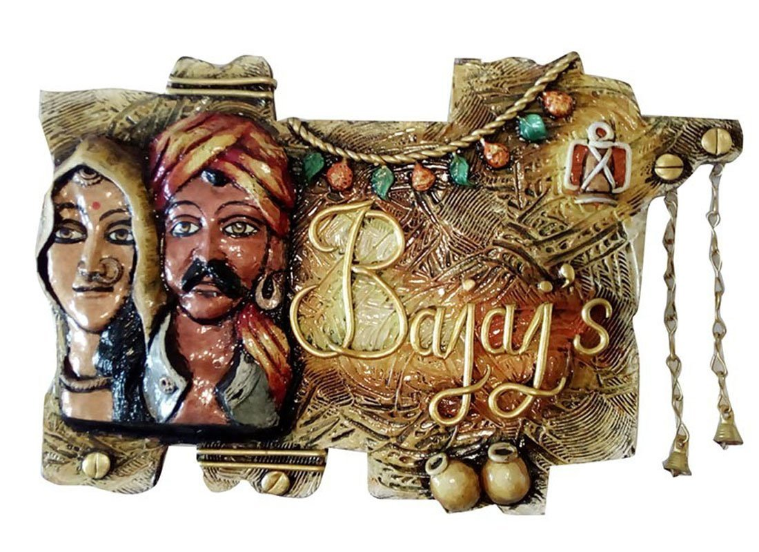 Craftedindia Rajasthani Art Customized Wooden Name Plate