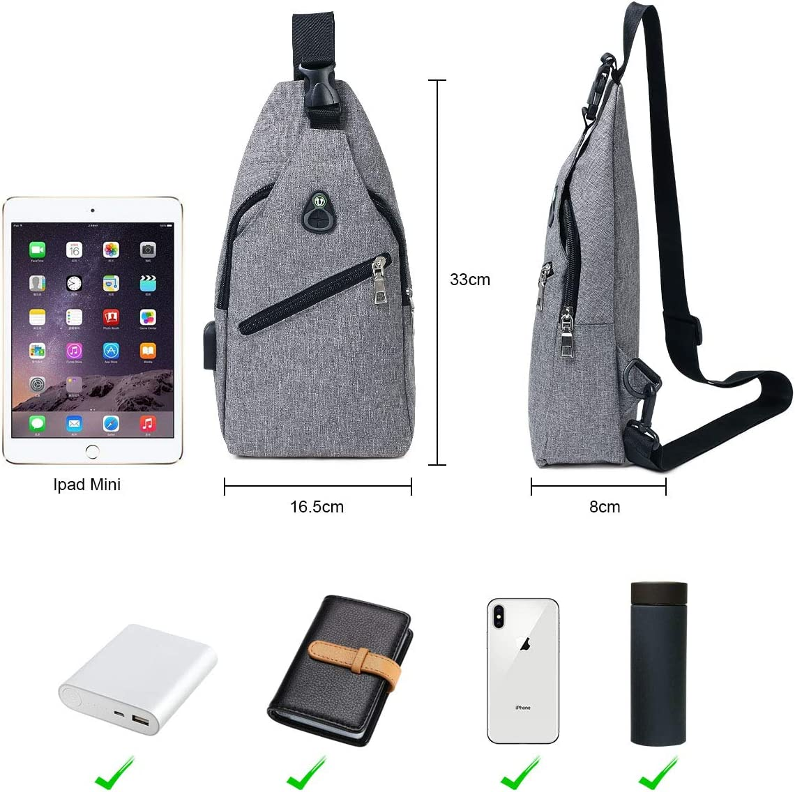 Chest Bag with USB Charging Port flintronic Sling Bag Include 1*USB Cable Men Women Lightweight Crossbody for Hiking,Cycling Traveling
