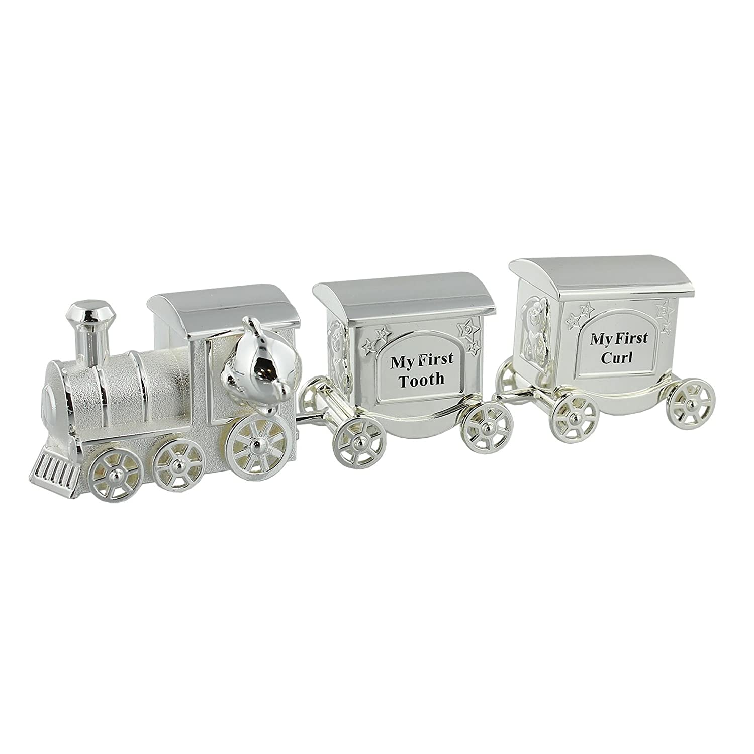 Train Money Box, Tooth & Curl Carriages- Silver Plated Baby Christening Gift by Widdop
