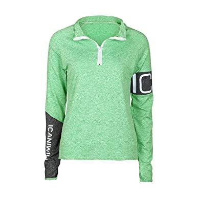 fa09feba Juleya Womens Long Sleeve Sport Tops - Ladies Half Zip Active Running  Fitness Yoga Gym T-Shirt Sexy Slim Stretch Top Quick Dry Breathable Casual  Patchwork ...
