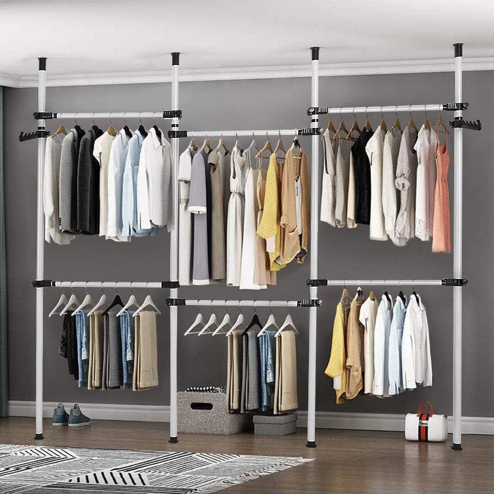 Heavy Duty Clothes Rack, 4 Poles 6 Bars Telescopic Coat Hanger Wardrobe Organiser, Hanging Rail, Garment Rack, Stainless Steel Poles and Bars, 60kg Loading per Horizontal Bar, Height Adjustable