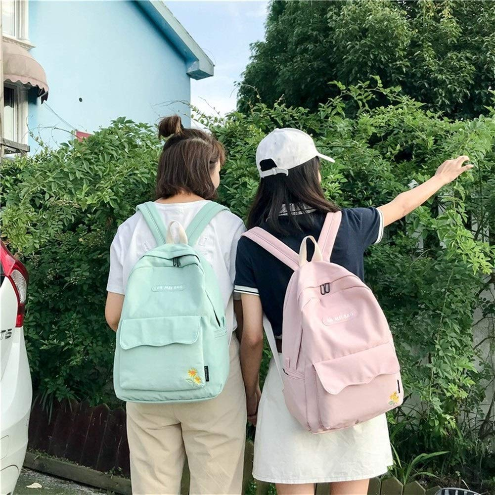 De Las Mujeres Bolsa De Viaje Mochila Harajuku Girasol Escuela De Bordado Morral Del Estudiante De La Universidad De Kawaii Bolsa Ocio Mochila Carta