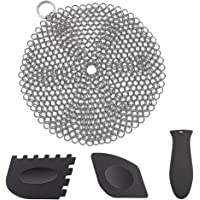 Stainless Steel Cast Iron Skillet Cleaner Chainmail Scrubber Hanging Ring with Silicone Hot Handle Holder and Pan…