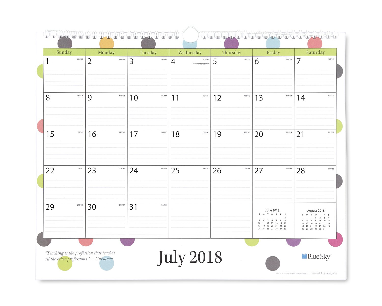 Blue Sky 2018-2019 Academic Year Monthly Wall Calendar, Twin Wire Binding, Ruled Blocks, 15'' x 12'', Teacher Dots Design by Blue Sky