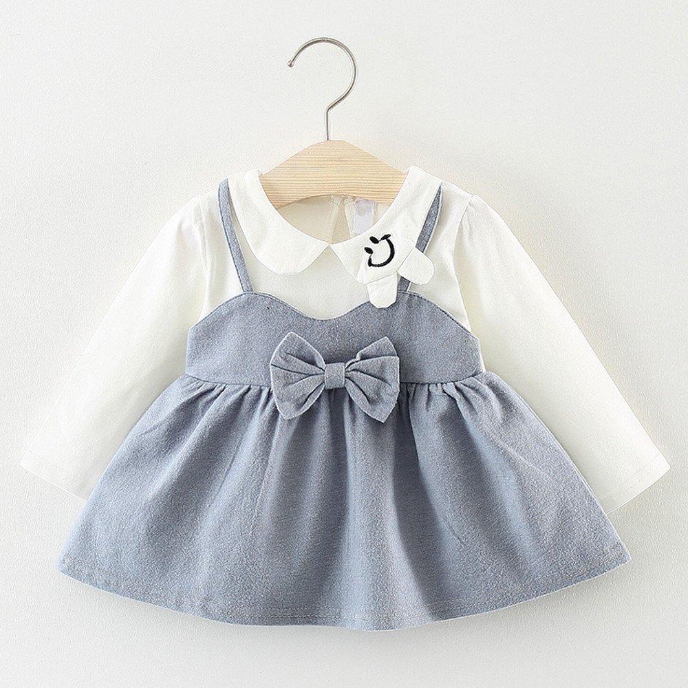 ee112849e14 Amazon.com  Toraway- Baby Girls Cute Pan Collar Dresses Newborn Infant  Braces Clothes 0-24 Months Long Sleeve Party Princess Dresses  Clothing