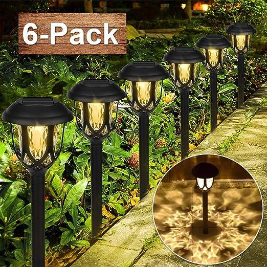 Lámpara Solar para Jardín, 6 piezas Luces Solares para Jardín, Luz Exterior Impermeable, Jardin Solares Exterior Luces de Decoración, Solar Luces para Caminos de Jardín para Céspe, Patio, Pasillo: Amazon.es: Jardín