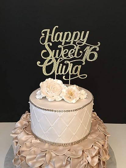 Funlaugh Any Name Glitter Happy Sweet 16 Birthday Sixteen 16Th Cake
