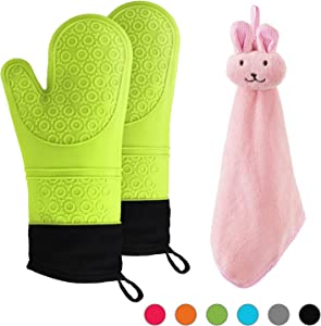 NA Silicone Oven Gloves and Towel Kitchen (3-Piece Set), Extra Long Professional Heat Resistant Kitchen Cooking Mitts,Food Safe Oven Mitt ,Non-Slip Textured Grip Heat Resistant Soft Inner Lining