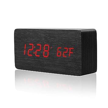 SOGREAT - Reloj Despertador Digital de Mesa con luz LED (pequeño, Madera, 8 Funciones, batería y USB): Amazon.es: Juguetes y juegos